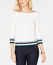 Tommy Hilfiger Cotton Off-The-Shoulder Cable-Knit Sweater, Created for Macy's