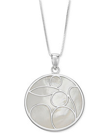 "Mother-of-Pearl Decorative 18"" Pendant Necklace in Sterling Silver"