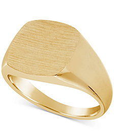 Men's Textured Signet Ring in 10k Gold