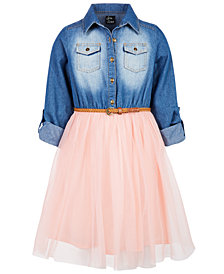 Pink & Violet Little Girls Denim Mesh Skirt