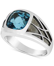 Men's London Blue Topaz Ring (5-5/8 ct. t.w.) in Sterling Silver & Black Rhodium-Plate