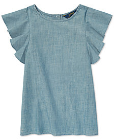 Polo Ralph Lauren Big Girls Chambray Flutter-Sleeve Cotton Top