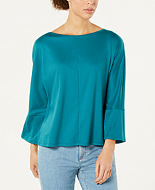Eileen Fisher Tencel Stretch Boat-Neck Flare-Sleeve Top