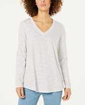 3e34be4534d0a7 Eileen Fisher Organic Cotton Striped V-Neck Top