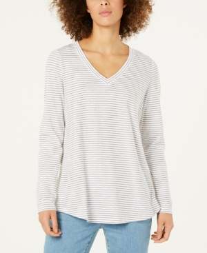 EILEEN FISHER ORGANIC COTTON STRIPED V-NECK TOP, REGULAR & PETITE