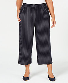 Eileen Fisher Plus Size Tencel Striped Cropped Pants
