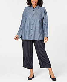 Eileen Fisher Chambray Notched-Hem Blouse