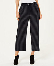 Eileen Fisher Tencel Striped Cropped Wide-Leg Pants, Regular & Petite