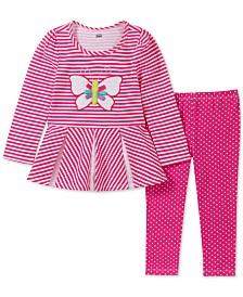 Kids Headquarters Baby Girls 2-Pc. Butterly Tunic & Dot-Print Leggings Set