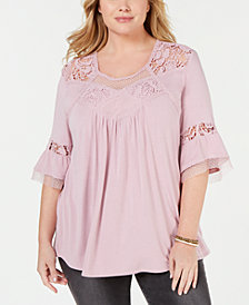 Eyeshadow Trendy Plus Size Lace-Trim Top