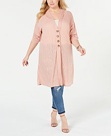 Eyeshadow Trendy Plus Size Textured Cardigan