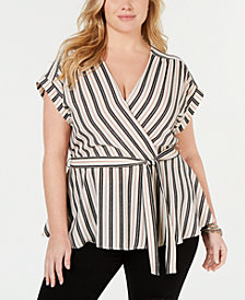 Monteau Trendy Plus Size Striped Faux-Wrap Top