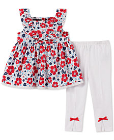 Tommy Hilfiger Baby Girls 2-Pc. Floral-Print Tunic & Leggings Set