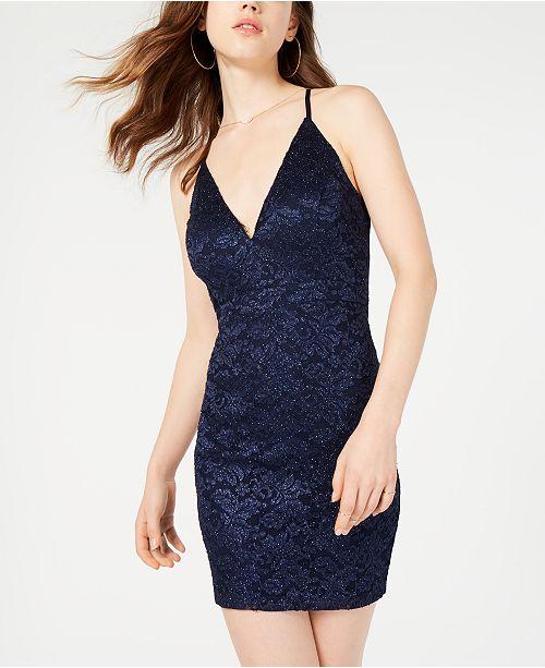 0683812e Emerald Sundae Juniors' Glitter Lace Bodycon Dress & Reviews ...