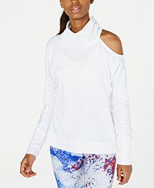 Calvin Klein Performance Mock-Neck Cold-Shoulder Top