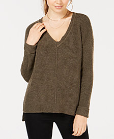Hippie Rose Juniors' Mossy Ribbed-Knit Tunic Top