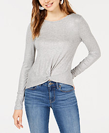 Planet Gold Juniors' Twist-Front Long-Sleeve Top