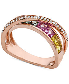 Multi-Sapphire (1-1/2 ct. t.w.) & Diamond (1/8 ct. t.w.) Ring in 14k Rose Gold