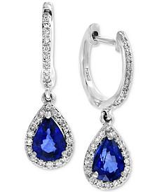 EFFY® Sapphire (1-1/3 ct. t.w.) & Diamond (1/4 ct. t.w.) Drop Earrings in 14k White Gold