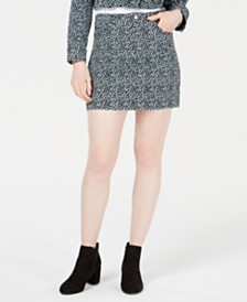 T.D.C. by Topson Printed Corduroy Mini Skirt