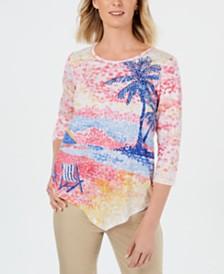 Alfred Dunner Petite Palm Coast Asymmetrical-Hem Top