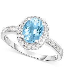 Aquamarine (1 ct. t.w.) and Diamond (1/8 ct. t.w.) Ring in Sterling Silver