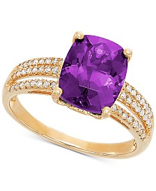 Amethyst (2-3/4 ct. t.w.) & Diamond (1/8 ct. t.w.) Ring in 14k Gold