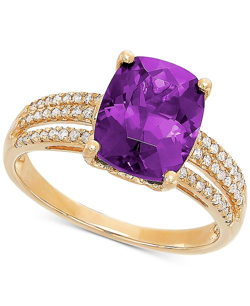Bronzarte Amethyst (2-3/4 ct. t.w.) & Diamond (1/8 ct. t.w.) Ring in 14k Gold