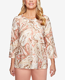 Alfred Dunner Petite Good To Go Printed Scoop-Neck Top