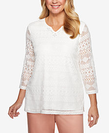 Alfred Dunner Petite Good To Go Lace Overlay Tunic