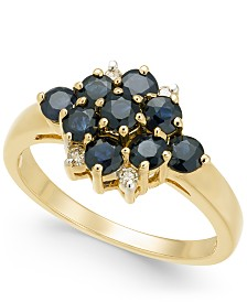 Sapphire (1-1/3 ct. t.w.) & Diamond Accent Cluster Ring in 14k Gold