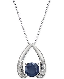 "Sapphire (5/8 ct. t.w.) & Diamond Accent 18"" Pendant Necklace in 14k White Gold (Also Available in Emerald)"