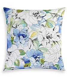 Closeout! Sketch Floral Cotton 300 Thread Count European Sham, Created for Macy's