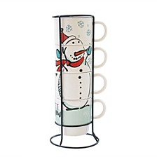 Snowman 5 Piece Mug Set with Metal Rack