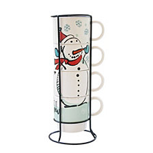 American Atelier Snowman 5 Piece Mug Set with Metal Rack