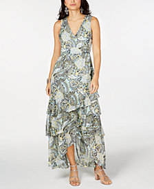 I.N.C. Printed Ruffled Maxi Dress, Created for Macy's
