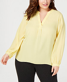 I.N.C. Plus Size V-Neck Woven Knit Top, Created for Macy's