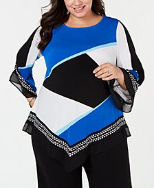 Alfani Plus Size Asymmetrical-Hem Top, Created for Macy's