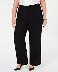 Alfani Plus Size High-Waisted Wide-Leg Pants, Created for Macy's