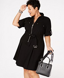 Plus Size Zip-Front Shirt Dress