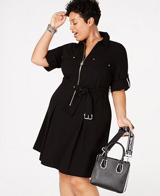 Shoptagr | Plus Size Zip Front Shirt Dress by General