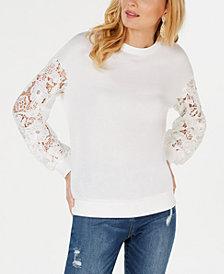 I.N.C. Lace-Sleeve Sweatshirt, Created for Macy's