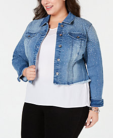 I.N.C. Plus Size Cropped Rhinestone Jean Jacket, Created for Macy's