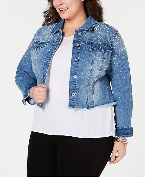 INC International Concepts I.N.C. Plus Size Cropped Rhinestone Jean Jacket, Created for Macy's