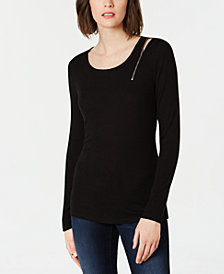 I.N.C. Petite Zipper-Detail Long-Sleeve Top, Created for Macy's