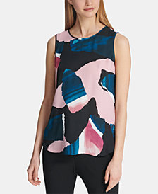 DKNY Abstract Print Sleeveless Top