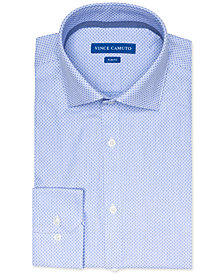 Vince Camuto Men's Slim-Fit Comfort Stretch Blue Diamond Dobby Dress Shirt
