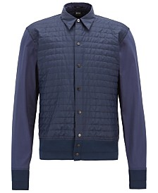 BOSS Men's Regular/Classic Fit Cotton Quilted-Panel Shirt