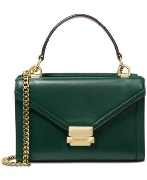 44c2ce92f2fe Michael Michael Kors Whitney Polished Leather Top Handle Shoulder Bag -  Racing Green Gold