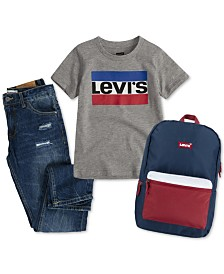 Levi's® Big Boys Logo-Print Cotton T-Shirt, Regular Tapered Fit Jeans, & Bay Area Backpack Separates